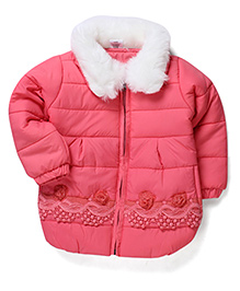 Babyhug Full Sleeves Fur Collar Quilted Jacket - Pink
