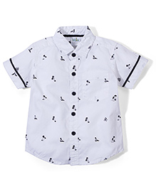 Babyhug Half Sleeves Shirt Tree Print - White
