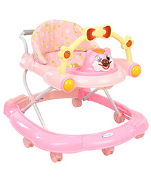 Musical Baby Walker With Push Handle - Pink
