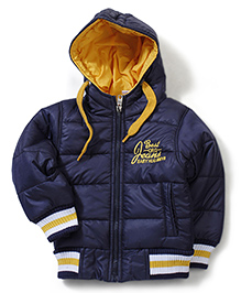 Babyhug Hooded Quilted Full Sleeves Jacket - Navy
