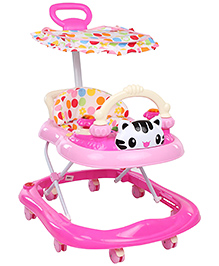 Musical Baby Walker With Canopy Cat Face Design - Pink