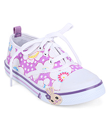 Cute Walk Casual Canvas Shoes Floral Print - Purple And White
