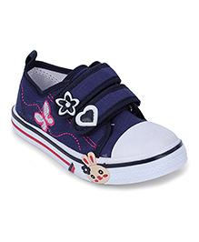 Cute Walk Canvas Shoes Floral Motif - Navy Blue