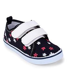 Cute Walk Canvas Shoes Floral Design - Black