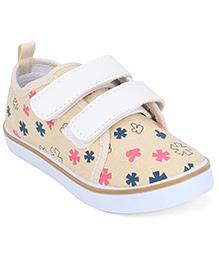 Cute Walk Casual Canvas Shoes Dual Velcro Closure - Beige