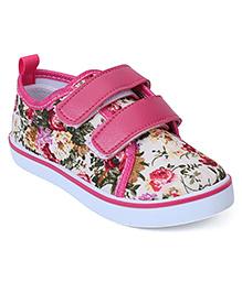 Cute Walk Canvas Shoes Floral Print - Fuchsia