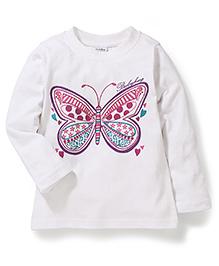 Bleeding Blue by Babyhug Full Sleeves Top Butterfly Print - White
