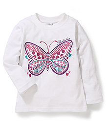 Bleeding Blue by Babyhug Full Sleeves Top Butterfly Print - White