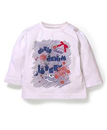 Bleeding Blue by Babyhug Full Sleeves Sleeves Top Bow Print - White
