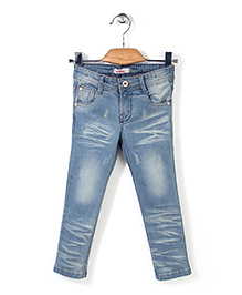 Button Noses Mid Wash Full Length Jeans - Light Blue