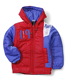 Babyhug Hooded Quilted Jacket - Red & Blue