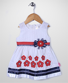 Chocopie Sleeveless Frock Floral Applique - White