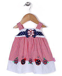 Chocopie Sleeveless Check Frock Bow Applique  - Red