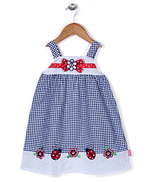 Chocopie Sleeveless Check Frock Bow Applique - Navy