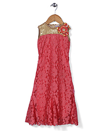Chocopie Sleeveless Floral Applique Party Wear - Red & Golden