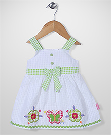 Chocopie Sleeveless Butterfly Patch Solid Color Frock - White