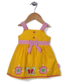 Chocopie Sleeveless Butterfly Patch Solid Color Frock - Yellow