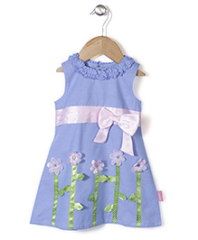 Chocopie Sleeveless Frock With Floral Applique - Blue