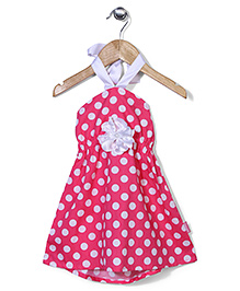 Chocopie Halter Neck Dotted Frock - Pink