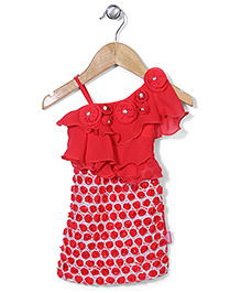 Chocopie All Over Rose Applique Sleeveless Party Frock - Red