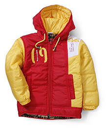 Babyhug Hooded Quilted Jacket - Red & Yellow