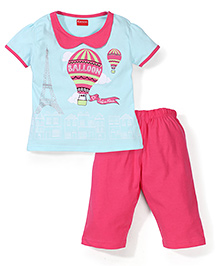 Kanvin Half Sleeves Night Suit Balloon Print - Pink and Blue