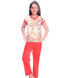 Kanvin Half Sleeves Night Suit Giraffe Print - Peach and Red
