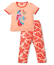 Kanvin Half Sleeves Night Suit Tropical Birds Print - Peach