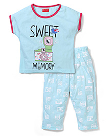 Kanvin Half Sleeves Night Suit Sweet Memory Print - Aqua Blue