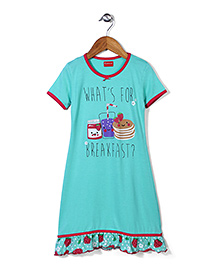 Kanvin Half Sleeves Nighty Caption Print - Aqua Marine