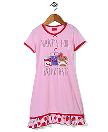 Kanvin Half Sleeves Nighty Caption Print - Rose Pink