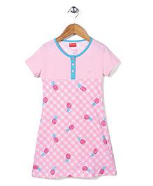 Kanvin Half Sleeves Nighty Pineapple Print - Pink