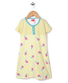 Kanvin Half Sleeves Nighty Pineapple Print - Light Yellow