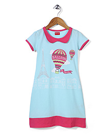 Kanvin Balloon Print Half Sleeves Nighty - Blue & Fuchsia
