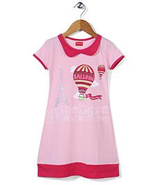 Kanvin Balloon Print Half Sleeves Nighty - Pink