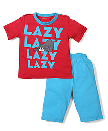 Kanvin Half Sleeves Night Suit Lazy Print - Red and Blue