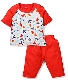 Kanvin Half Sleeves Night Suit Airplane Print - Orange