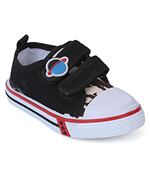 Cute Walk Canvas Shoes Planet Motif - Black