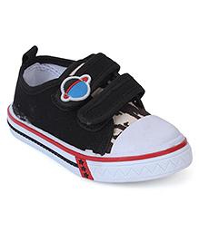 Cute Walk Canvas Shoes Planet Motif - Black