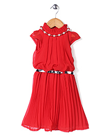 Babyhug Party Wear Frock With Necklace And Belt - Red