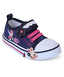 Cute Walk Canvas Shoes Floral Motif - Dark Blue