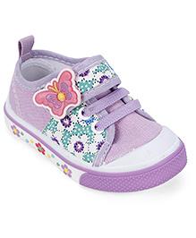 Cute Walk Canvas Shoes Butterfly Motif - Purple