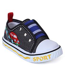 Cute Walk Canvas Shoes Car Embroidery - Black