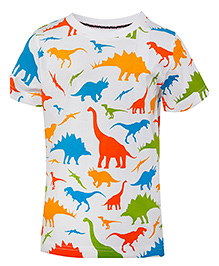 Imagica Half Sleeves T-Shirt Dino Print - Multi Color