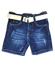 Bees And Butterflies Ripped Denim Shorts - Dark Blue
