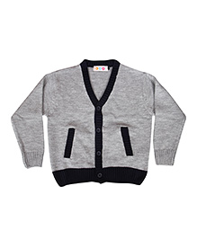 Kids On Board V Neck Solid Sweater- Grey