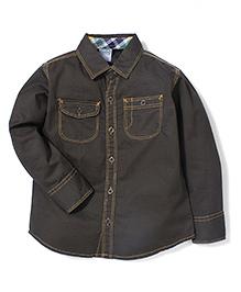 Babyhug Solid Full Sleeves Shirt With Two Pockets - Grayish Black
