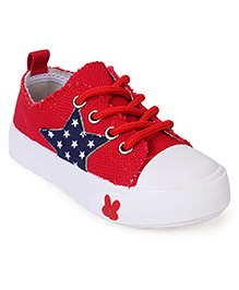 Cute Walk Canvas Shoes Star Patch - Red
