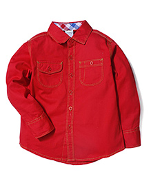 Babyhug Solid Full Sleeves Shirt With Two Pockets - Red