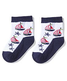 Mustang Anklet Socks Ship Design - Navy